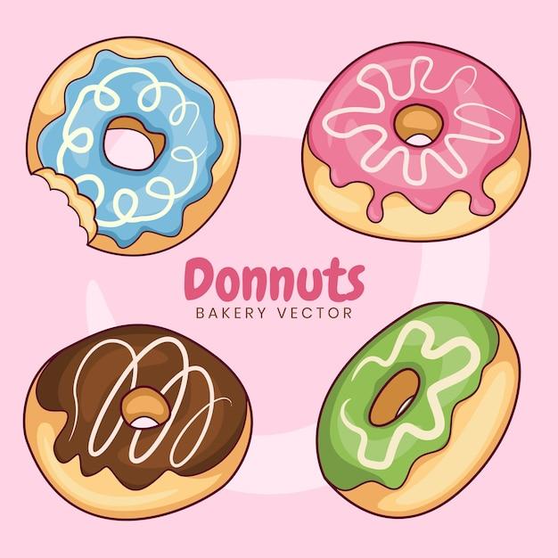 Sammlung von donuts mit geschmolzener marmelade. donuts mit süßen marmeladenfarbvarianten Premium Vektoren