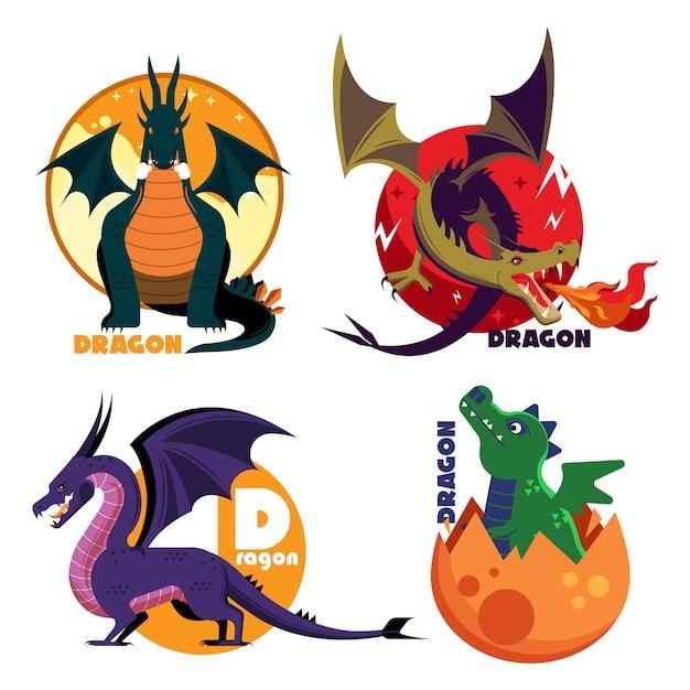 Sammlung von dragon colored vector cartoon templates Premium Vektoren