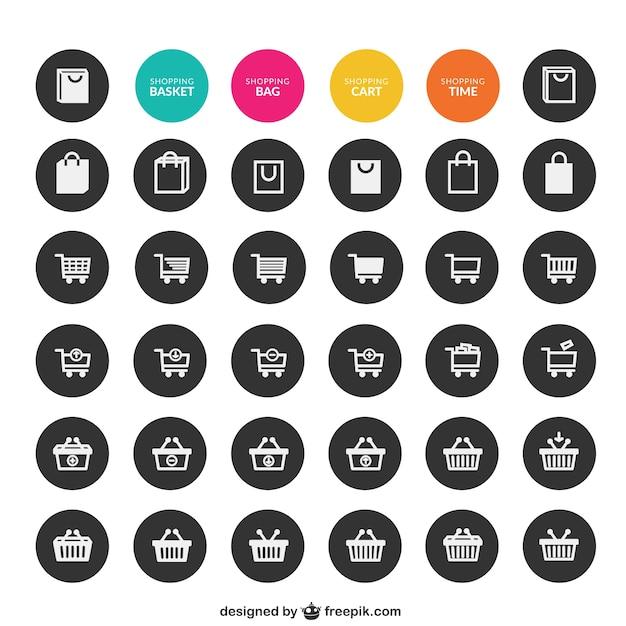 Sammlung von einkaufs symbole Kostenlosen Vektoren