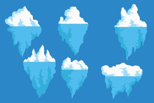 Sammlung von eisbergen Kostenlosen Vektoren