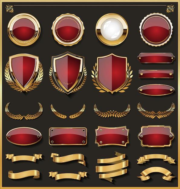 Sammlung von eleganten roten und goldenen abzeichen Premium Vektoren