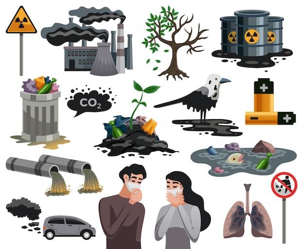 Sammlung von elementen für ökologische katastrophen Kostenlosen Vektoren