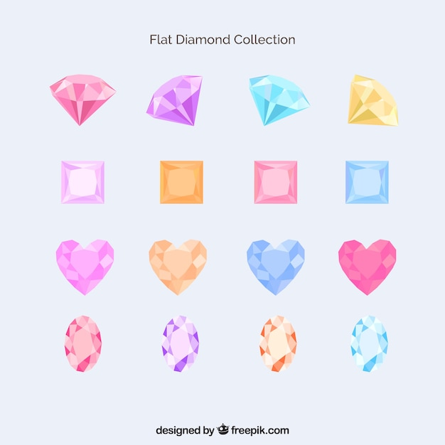 Sammlung von farbigen diamanten Kostenlosen Vektoren
