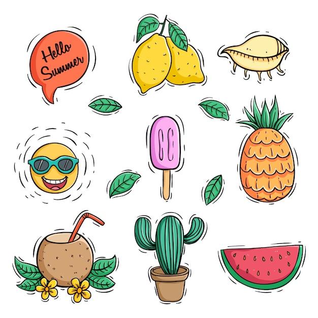 Sammlung von farbigen doodle-sommer-icons mit ananas-kokos-drink und wassermelone Premium Vektoren
