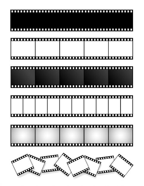 Sammlung von filmstreifen, film, foto Premium Vektoren