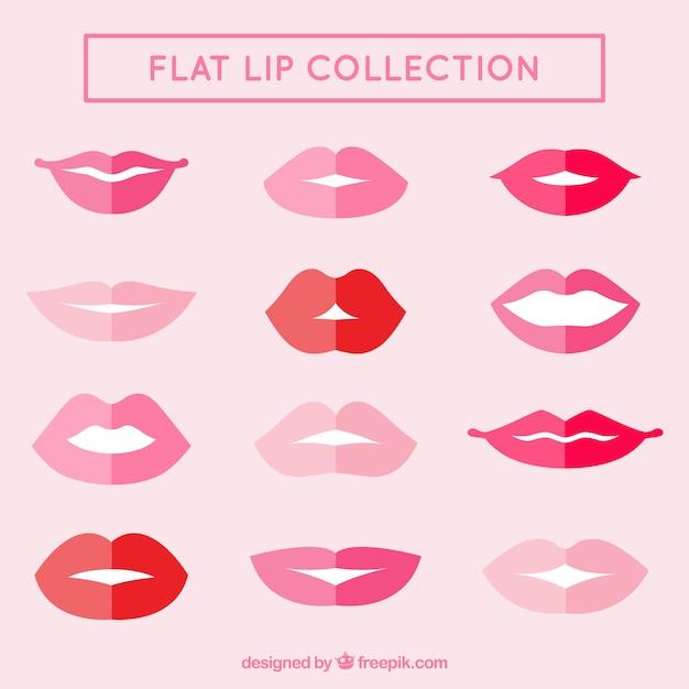 Sammlung von flachen lippen Kostenlosen Vektoren