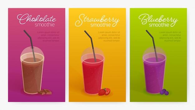 Sammlung von flyer- oder postervorlagen mit köstlichen smoothies oder gesunden leckeren detox-getränken in plastikgläsern mit deckel und strohhalm. bunte illustration für werbung, verkaufsförderung. Premium Vektoren