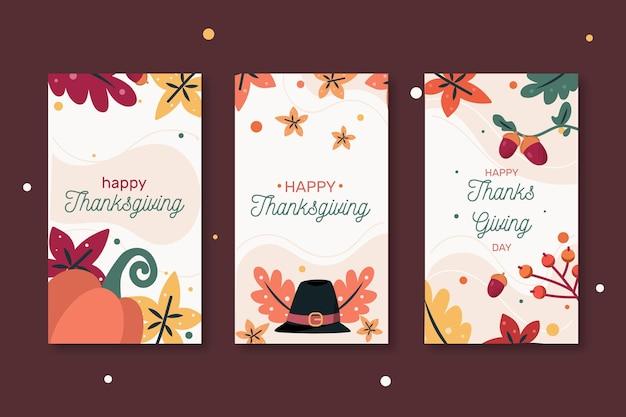 Sammlung von fröhlichen thanksgiving-web-bannern Premium Vektoren
