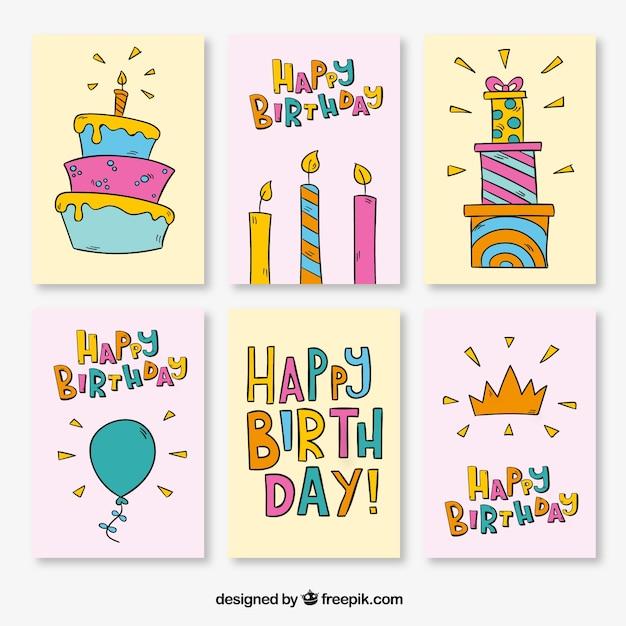 Sammlung von Geburtstagskarten mit Zeichnungen | Download der ...