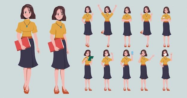 Sammlung von geschäftsfrau in jobcharakterhaltung. Premium Vektoren