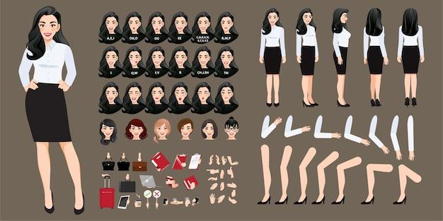 Sammlung von geschäftsfrau zeichentrickfigur Premium Vektoren