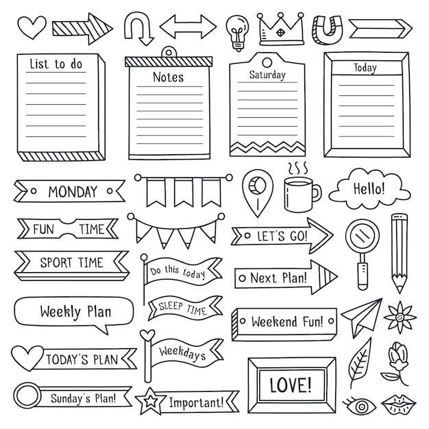 Sammlung von gezeichneten bullet journal essentials Premium Vektoren