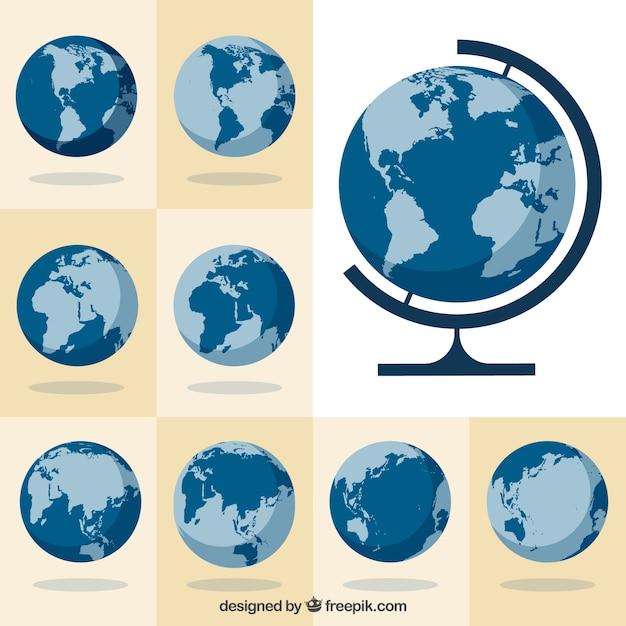Sammlung von globen Kostenlosen Vektoren