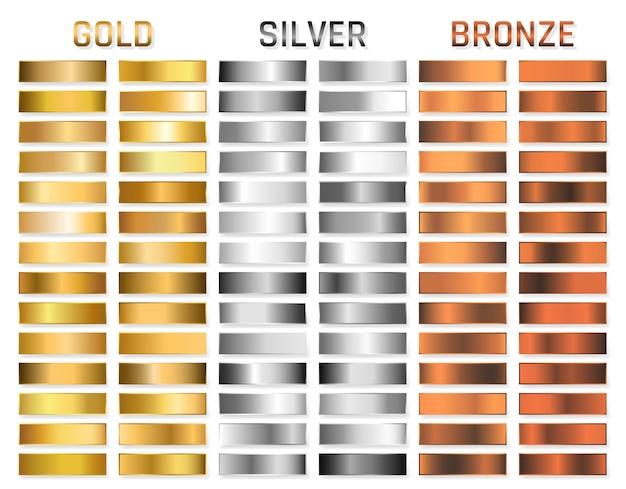 Sammlung von gold, silber, chrom, bronze metallic gradient. brillante platten mit gold-, silber-, chrom- und bronze-metallic-effekt. Premium Vektoren