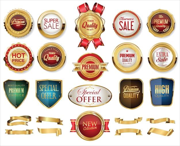 Sammlung von goldenen abzeichen etiketten lorbeer schild und metallplatten Premium Vektoren