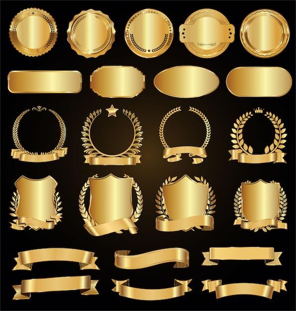 Sammlung von goldenen abzeichen etiketten lorbeeren und bändern Premium Vektoren