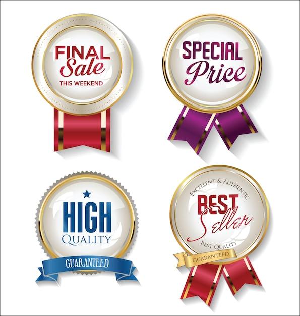 Sammlung von goldenen abzeichen etiketten und tags Premium Vektoren