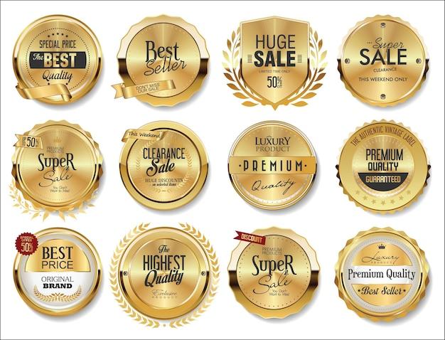 Sammlung von goldenen abzeichen etiketten Premium Vektoren