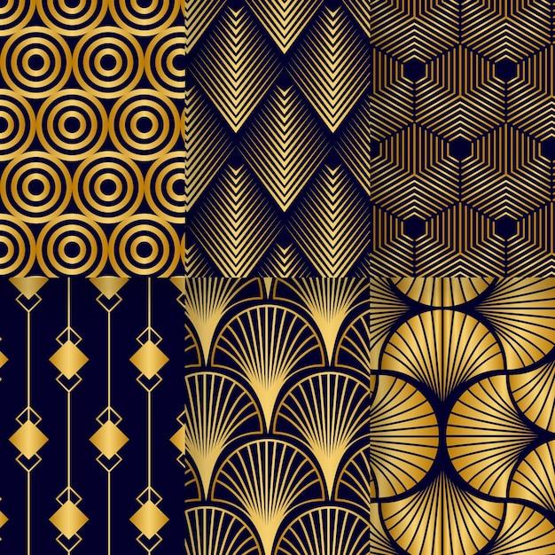 Sammlung von goldenen art-deco-mustern Premium Vektoren