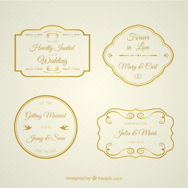 Sammlung Von Goldenen Hochzeit Abzeichen Kostenlose Vektor