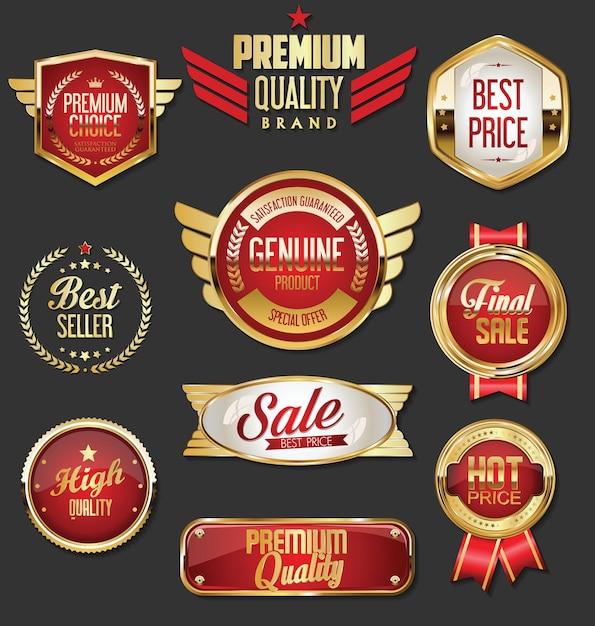 Sammlung von goldenen und roten abzeichen und etiketten im retro-stil Premium Vektoren