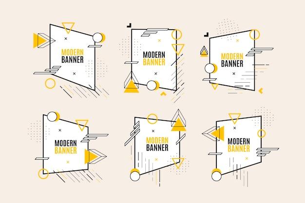 Sammlung von grafikdesign-etiketten im geometrischen stil Kostenlosen Vektoren