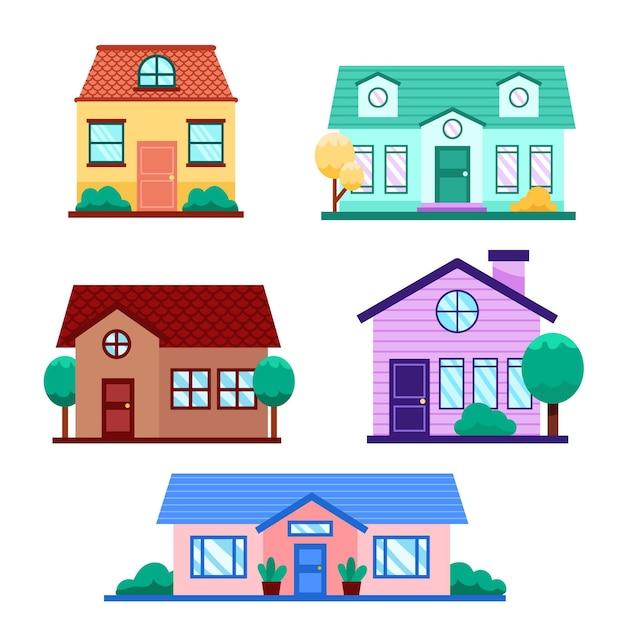 Sammlung von häusern mit bäumen Premium Vektoren