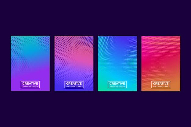 Sammlung von halbton-farbverlaufsabdeckungen Kostenlosen Vektoren