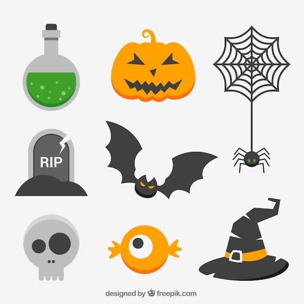Sammlung von halloween-elementen in flachen design Kostenlosen Vektoren