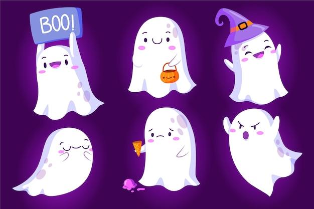 Sammlung von halloween-geistern im flachen design Premium Vektoren