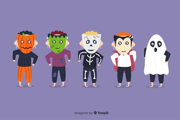 Sammlung von halloween kinderkostümen Kostenlosen Vektoren