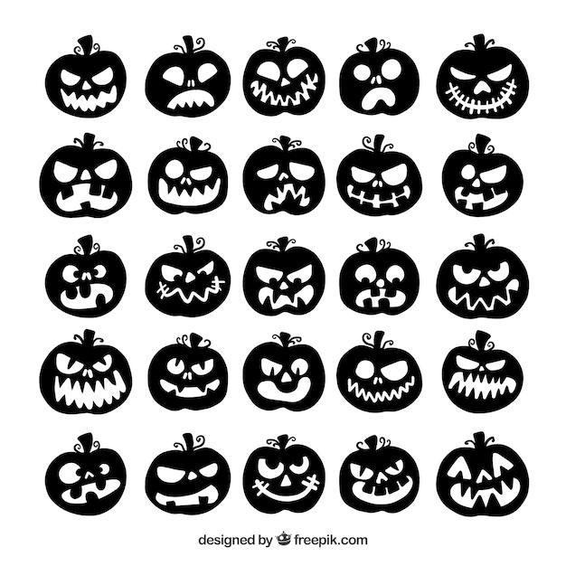 Sammlung von Halloween Kürbis Silhouette | Download der kostenlosen ...