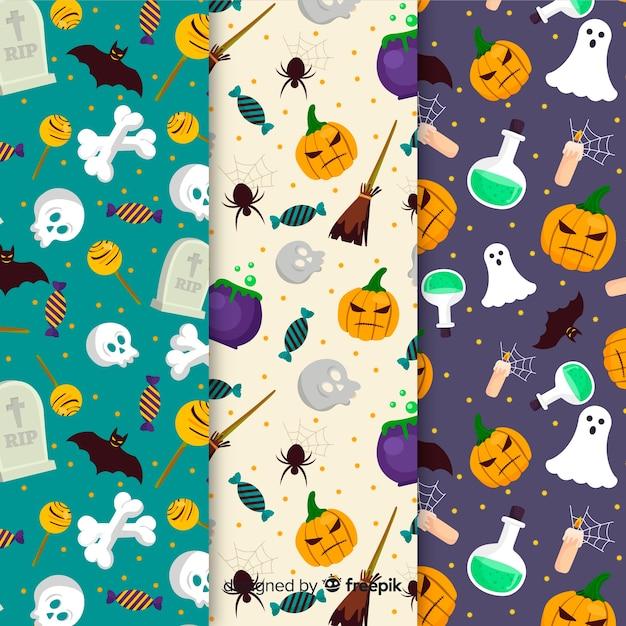 Sammlung von halloween-muster im flachen design Kostenlosen Vektoren