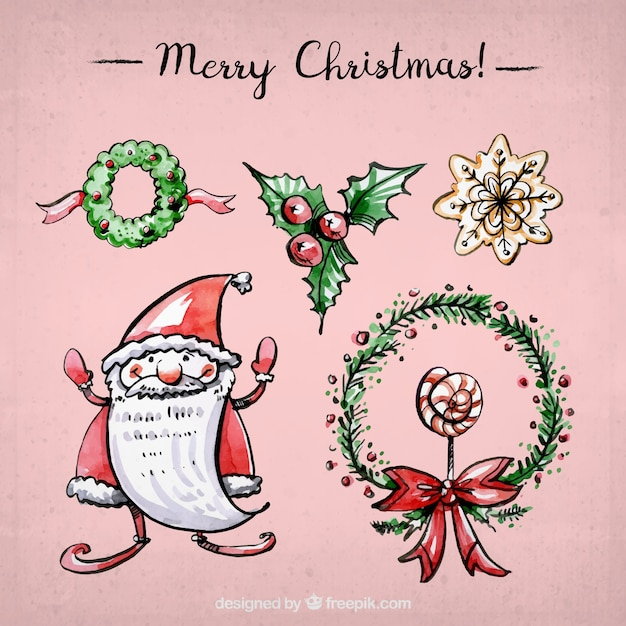 Sammlung von hand gezeichnet aquarell weihnachten elemente - Aquarell weihnachten ...