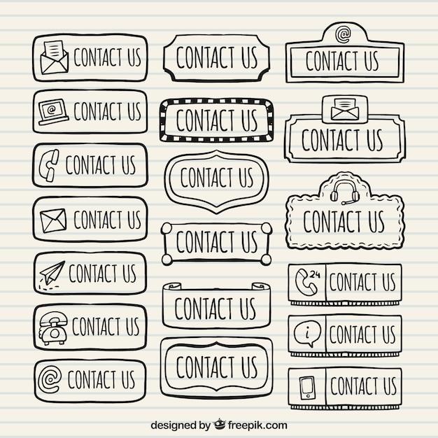 Sammlung von hand gezeichnet kontakt web-buttons Kostenlosen Vektoren