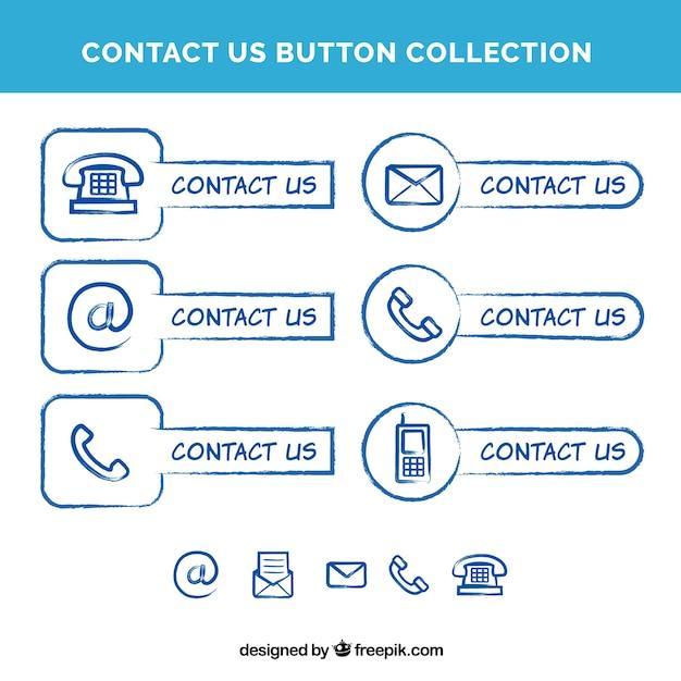Sammlung von hand gezeichnet kontaktknöpfe Kostenlosen Vektoren