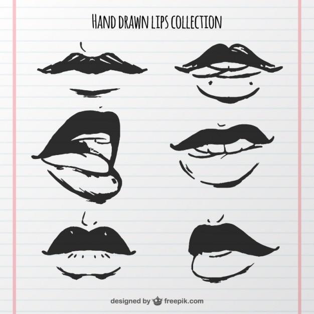 Sammlung von hand gezeichnet münder Kostenlosen Vektoren