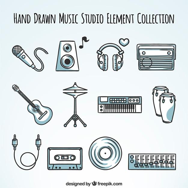 Sammlung von hand gezeichnet stereo-elemente Kostenlosen Vektoren