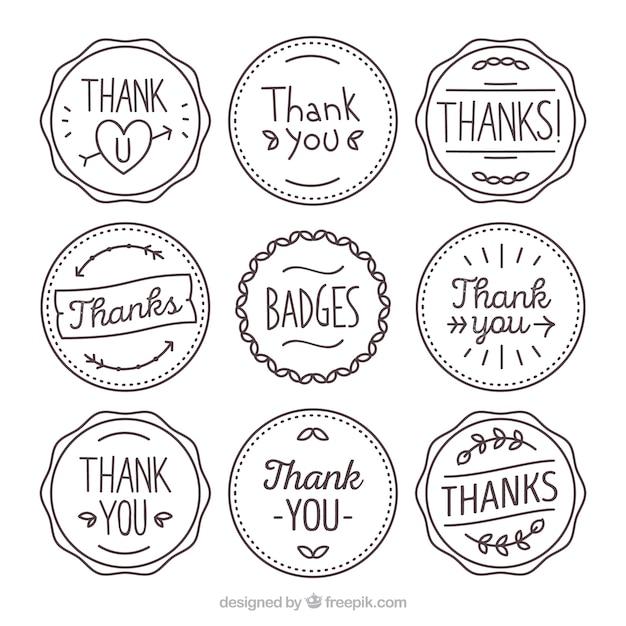 Sammlung von hand gezeichnet thanksgiving retro-aufkleber Kostenlosen Vektoren