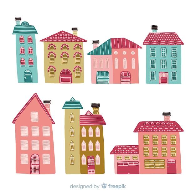 Sammlung von hand gezeichneten häusern Kostenlosen Vektoren