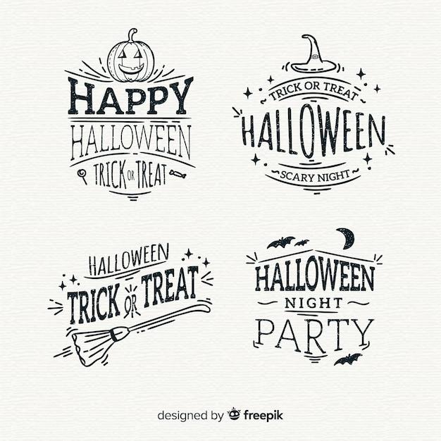 Sammlung von hand gezeichneten halloween-abzeichen Kostenlosen Vektoren