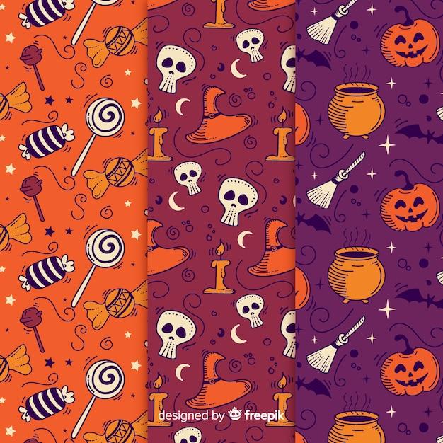 Sammlung von hand gezeichneten halloween-muster Kostenlosen Vektoren