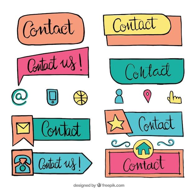 Sammlung von hand gezeichneten kontakt-taste Kostenlosen Vektoren