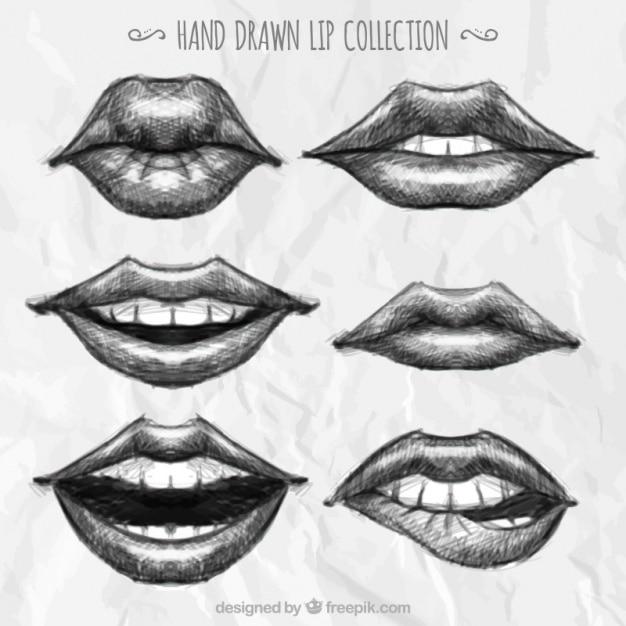 Sammlung von hand gezeichneten lippen Kostenlosen Vektoren