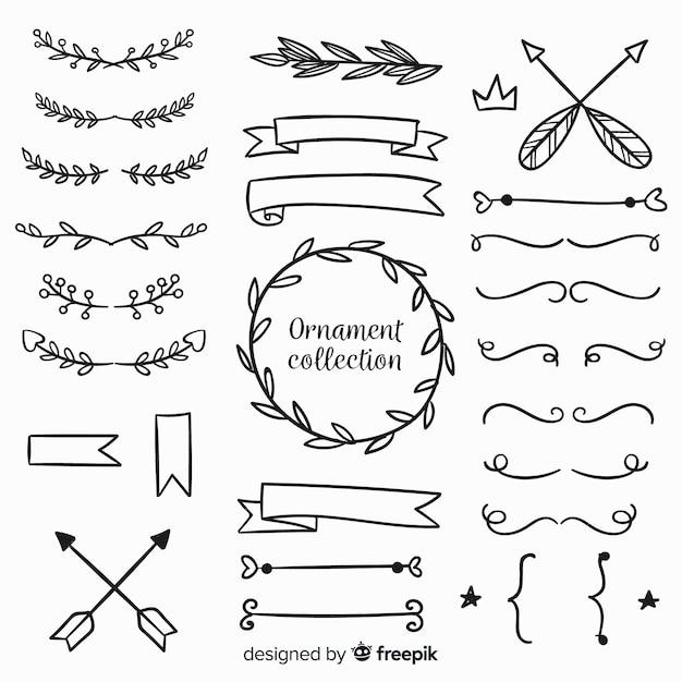 Sammlung von hand gezeichneten ornamenten Kostenlosen Vektoren