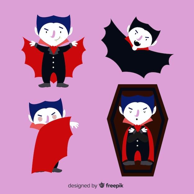 Sammlung von hand gezeichneten vampir charaktere Kostenlosen Vektoren