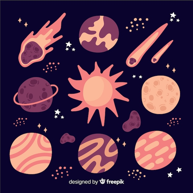 Sammlung von hand gezeichneten verschiedenen planeten Kostenlosen Vektoren