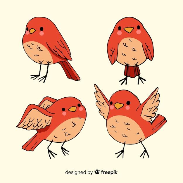 Sammlung von hand gezeichneten vögeln Kostenlosen Vektoren