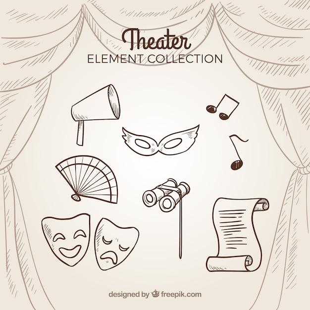 Sammlung von hand retro theater elemente gezeichnet Kostenlosen Vektoren