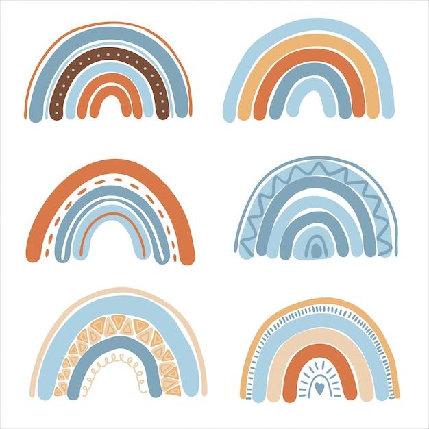 Sammlung von handgezeichneten boho-regenbogen Premium Vektoren